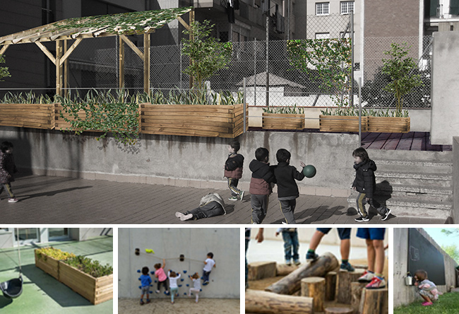 vista del pati de l'escola proposat 2 en la reforma d'espais exteriors. jardineres, ombracle, paviment exterior...