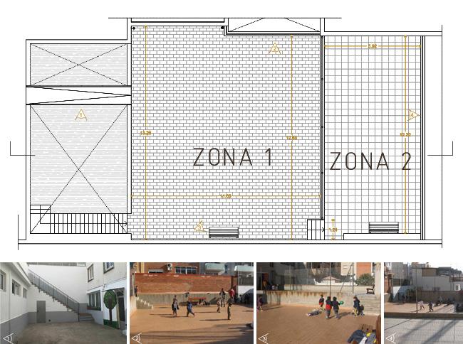 planta actual dels 2 patis de l'escola a reformar