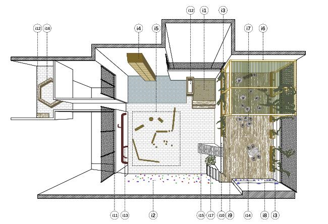 planta proposada pel pati d'escola reformat. mostra les 2 zones i els elements movils que incorpora cadascuna d'aquestes