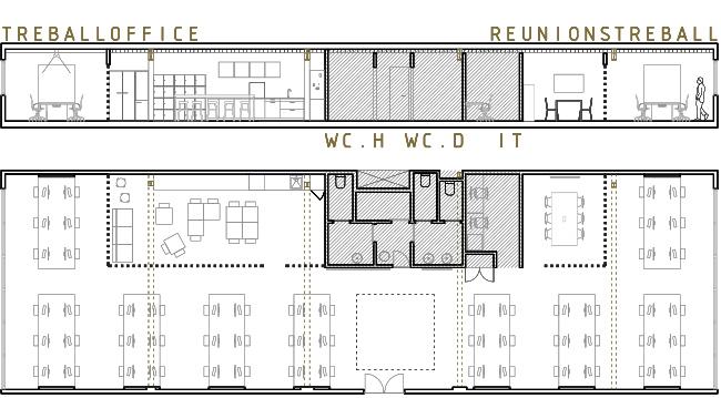 planols de planta i seccio equema de distribuició de la reforma interior d'unes oficines