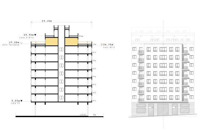 alçat i secció actuals de l'edifici de la reforma integral d'arquitectura d'un àtic al barri de gràcia de barcelona.