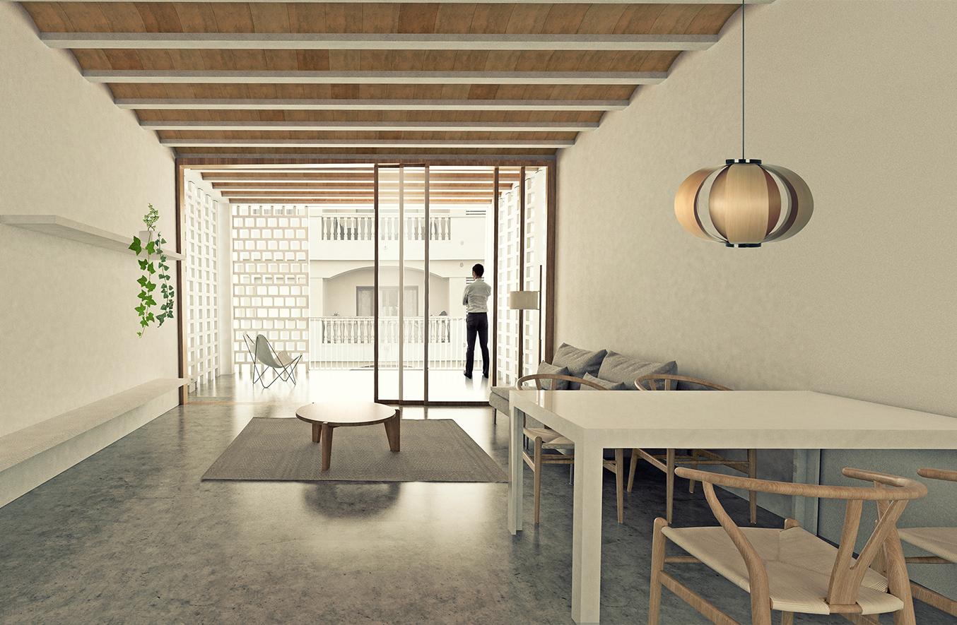 vista interior del mòdul d'habiatge de la obra nova, i projecte d'arquitectura d'habitatges, mallorca,