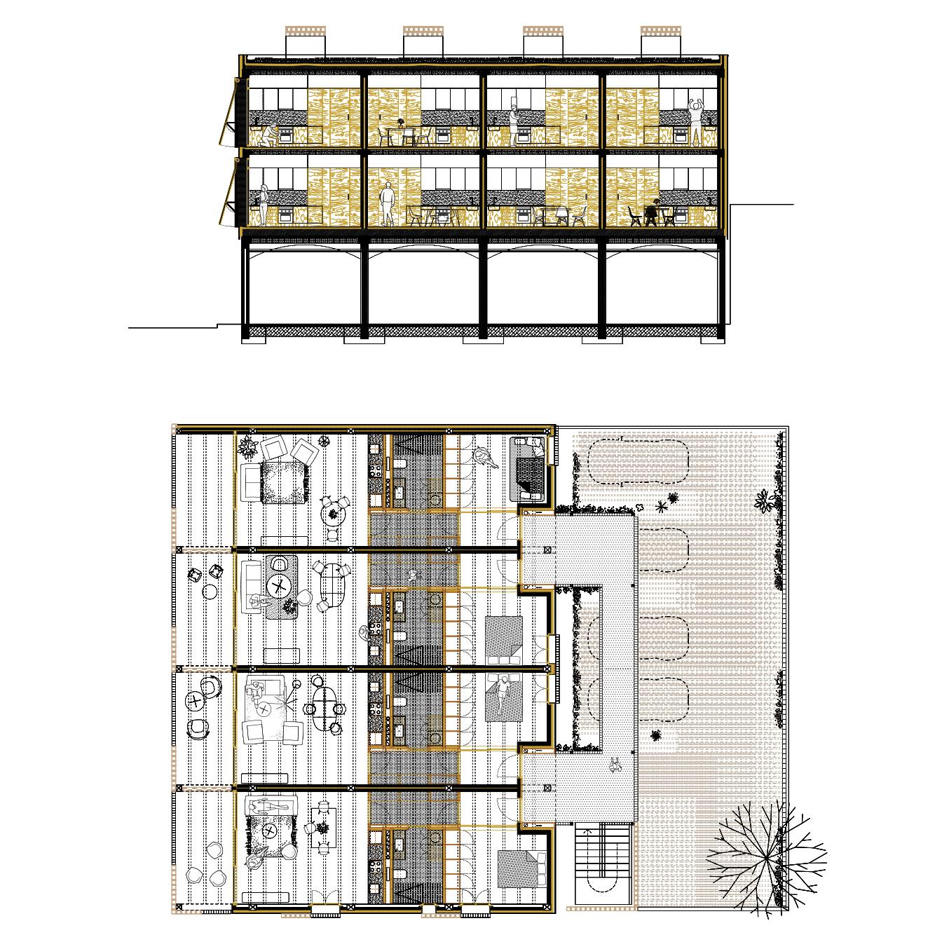 planta i secció de la obra nova, i projecte d'arquitectura d'habitatges, mallorca,