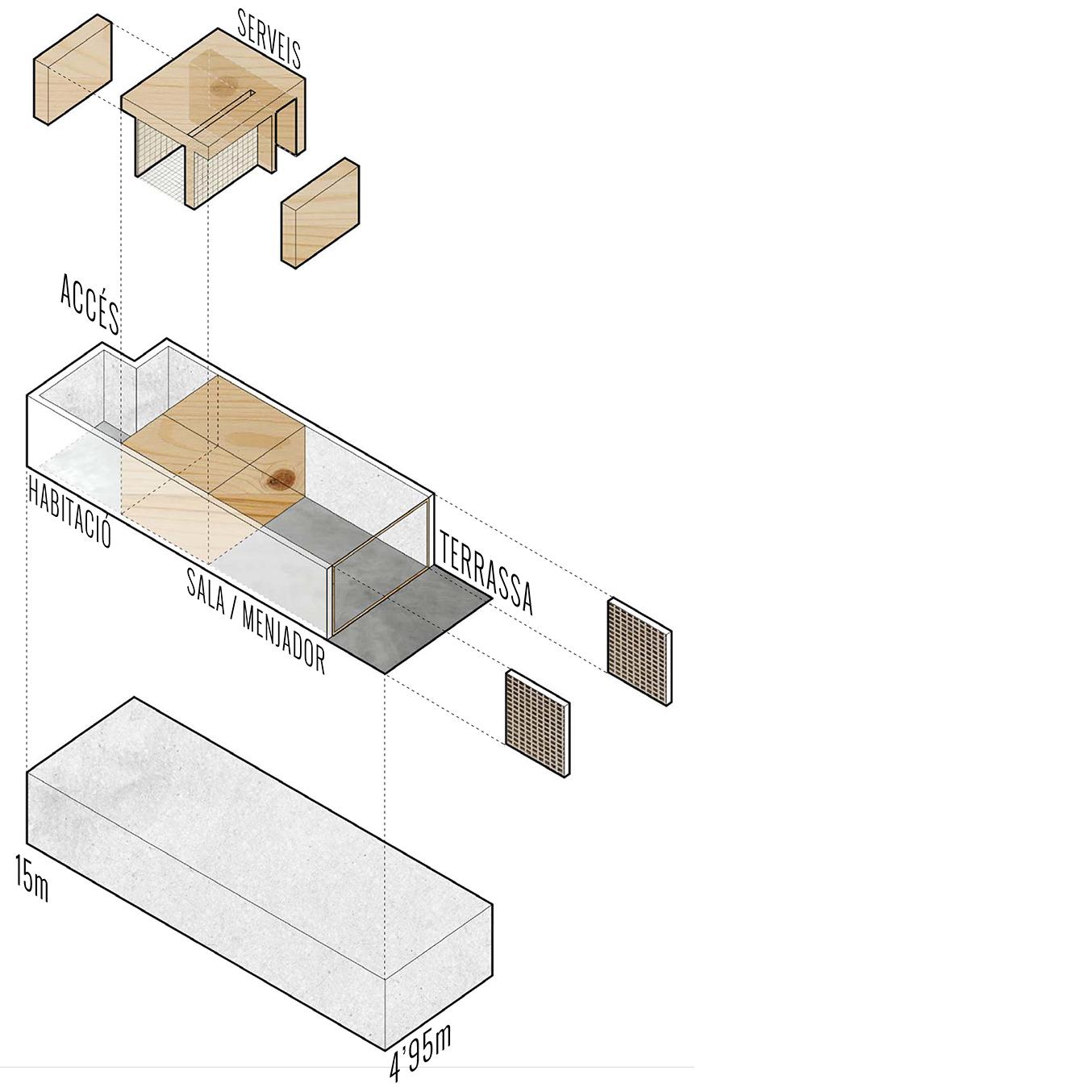 esquema del mòdul d'habiatge de la obra nova, i projecte d'arquitectura d'habitatges, mallorca,