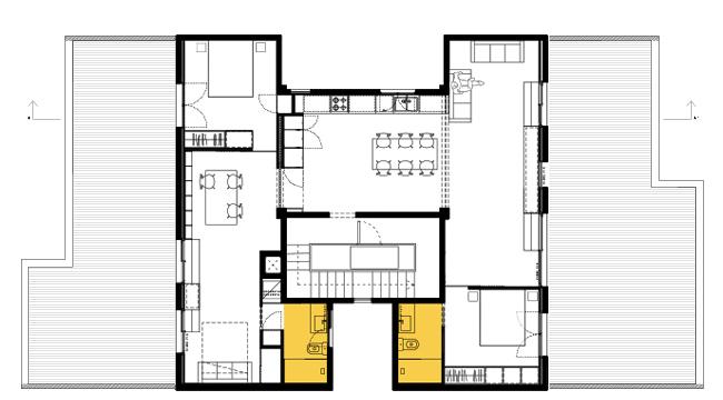 planta proposta de la reforma integral d'arquitectura d'un àtic al barri de gràcia de barcelona.