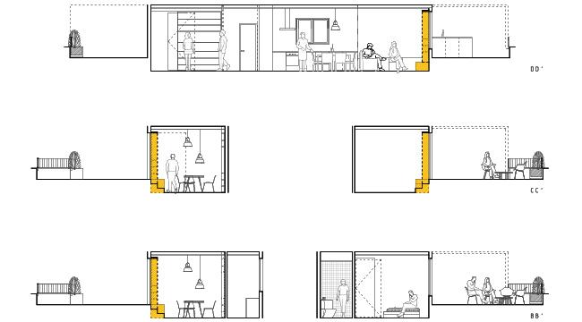 seccions propostes de la reforma integral d'arquitectura d'un àtic al barri de gràcia de barcelona.